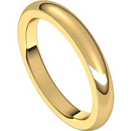 22k Gold 3mm Heavyweight Half Round Domed Wedding Band
