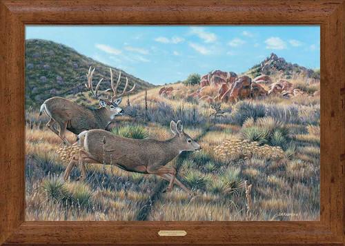 In Pursuit Mule Deer Framed Gallery Art Print by Jim Kasper