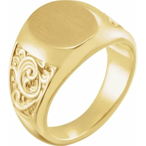 Round Scroll Signet Ring in 14k Gold or Platinum