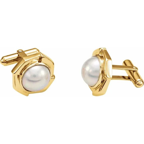Mabe Cultured Pearl Cufflinks in 14k Yellow Gold