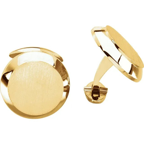 Round Cufflinks in 14k or 18k Gold