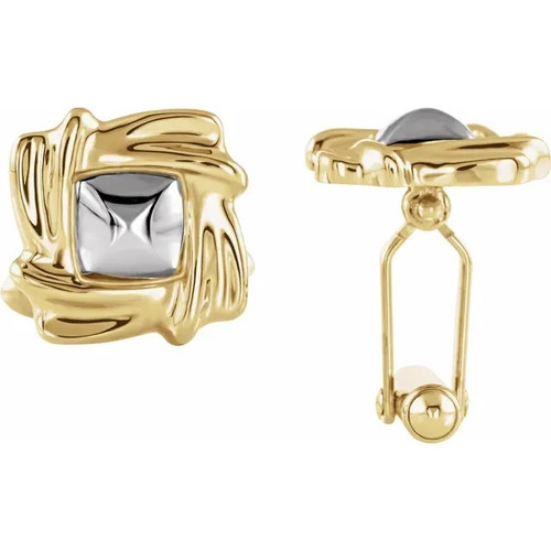 Square Two-Tone Cufflinks in 18k Yellow Gold and Platinum or 14k Yellow and White Gold