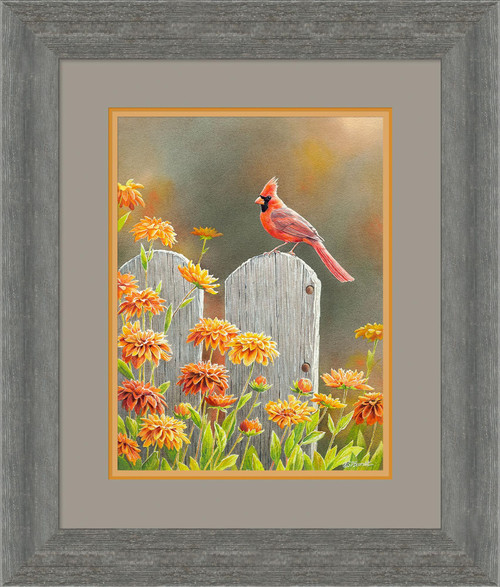 Autumn Garden Cardinal Framed Limited Edition Art Print on Paper by Susan Bourdet