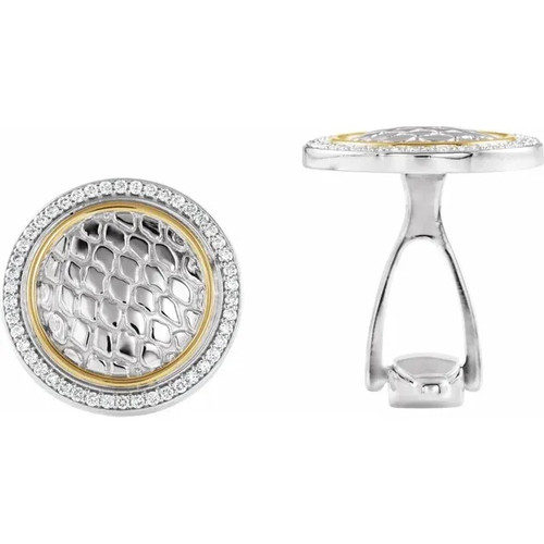 Round Snake Print  Diamond Cufflinks in Sterling Silver and 14k Yellow Gold