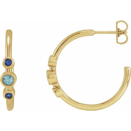 Blue Gemstone Bezel Set Hoop Earrings