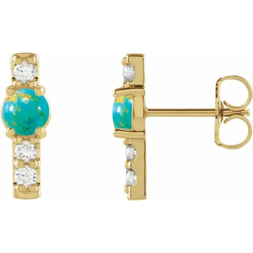Gemstone and Diamond Bar Earrings in 14k Gold