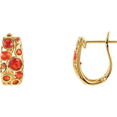 Mexican Fire Opal Hoop Earrings in 14k Yellow Gold