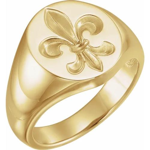 Men's Fleur de Lis Signet Ring in 14k Gold