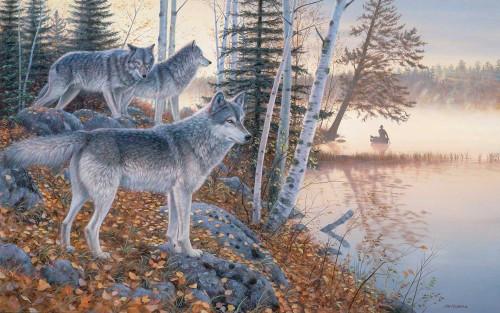 Silent Travelers - Wolves Original Acrylic Painting by Jim Kasper