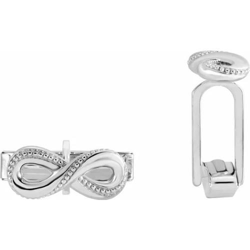 Sterling Silver Infinity Symbol Beaded Border Cufflinks