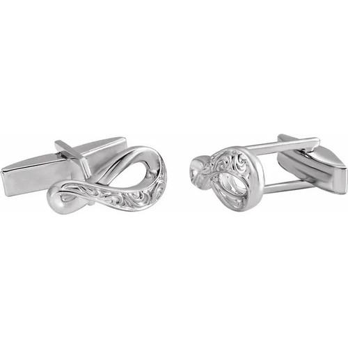 Sterling Silver Ornate Infinity Cufflinks