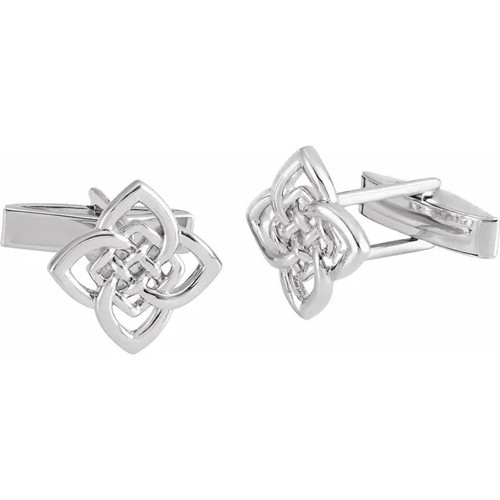 Sterling Silver Four Cornered Celtic Knot Cufflinks