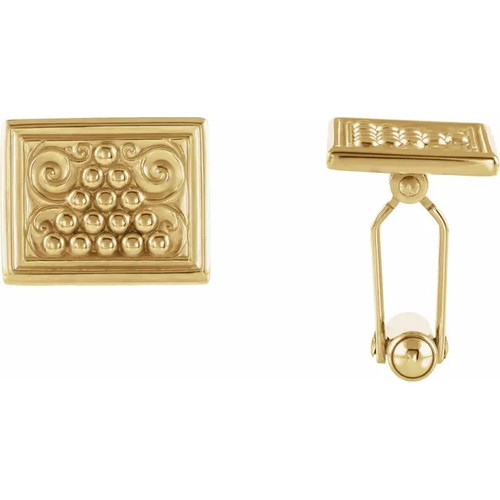 Rectangle Design Cufflinks in 18k and 14k Yellow Gold