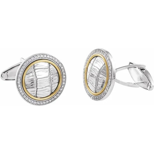 Diamond Round Alligator Print Cufflinks in Sterling Silver and 14k Yellow Gold