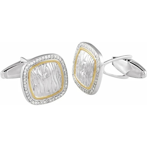 Diamond Square Elephant Print Cufflinks in Sterling Silver and 14k Yellow Gold