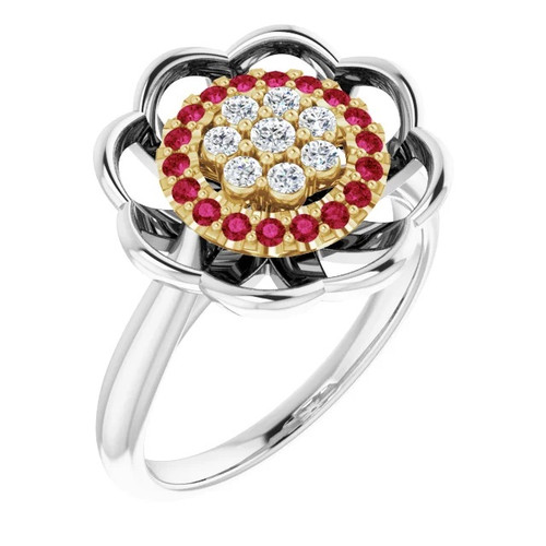 Diamond and Ruby Halo Cluster Ring in 14k White and Yellow Gold