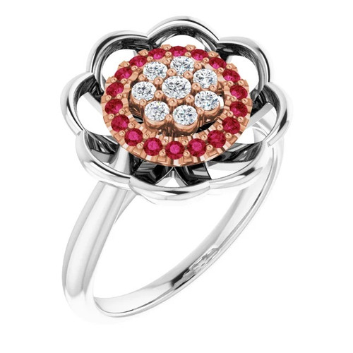 Diamond and Ruby Halo Cluster Ring in 14k White and Rose Gold