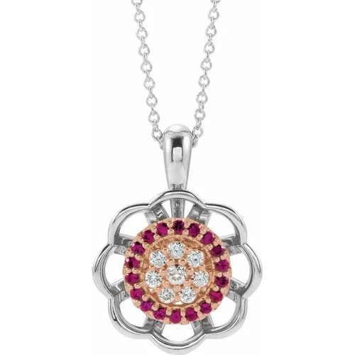 Diamond and Ruby Halo Cluster Necklace in 14k White and Rose Gold