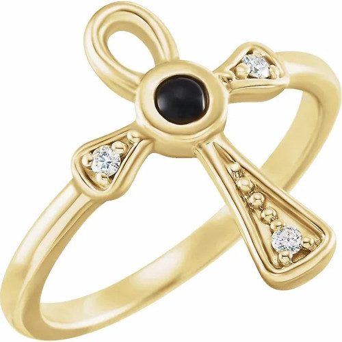 Black onyx and Diamond Ankh Cross Ring in 14k Gold