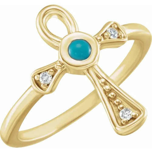 Turquoise and Diamond Ankh Cross Ring in 14k Gold