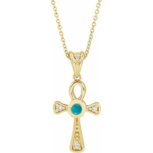 Turquoise and Diamond Ankh Cross Necklace in 14k Gold