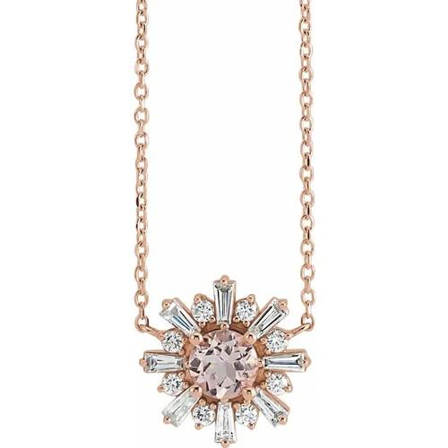 Morganite and Diamond Starburst Necklace in 14k Gold or Platinum