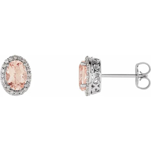 Oval Morganite and Diamond Halo Stud Earrings in 14k Gold