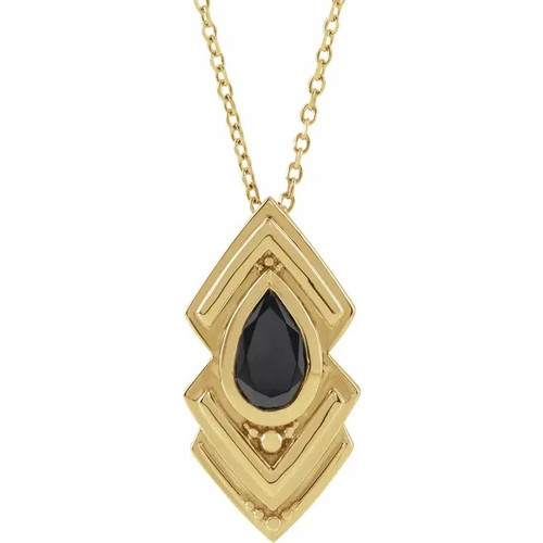 Black Onyx Geometric Necklace in 14k Gold