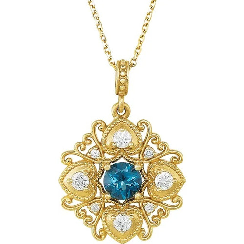 London Blue Topaz and Diamond Vintage Style Necklace in 14k Yellow Gold