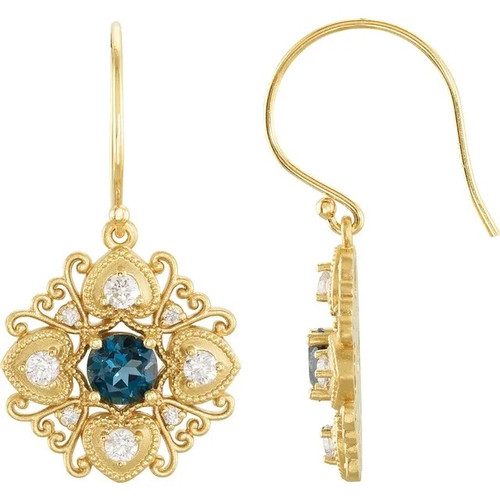 London Blue Topaz and Diamond Vintage Style Earrings in 14k Yellow Gold