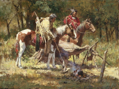 Howard Terpning Hasty Retreat Giclée on Canvas