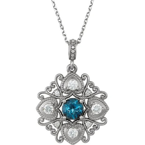 London Blue Topaz and Diamond Vintage Style Necklace in 14k White Gold