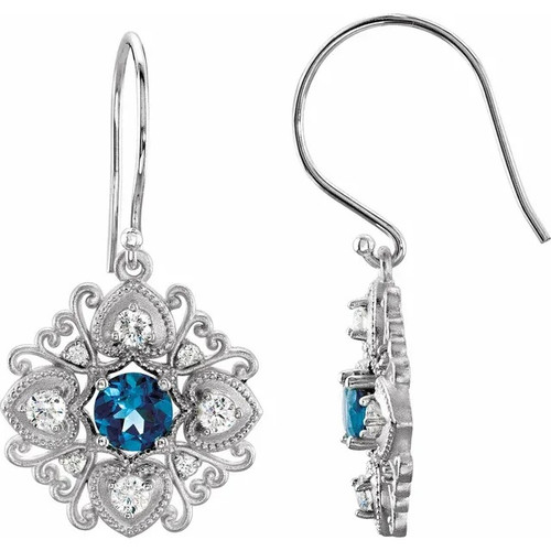 London Blue Topaz and Diamond Vintage Style Earrings in 14k White Gold