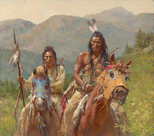 Howard Terpning Mystery of the Crow Medicine Horse Masks Giclée on Canvas