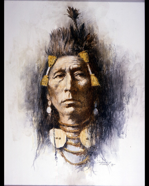 Howard Terpning Crow Brave Giclée on Canvas Portrait Series