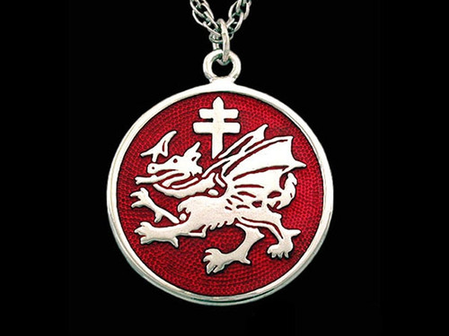 Order of the Dragon Enamel Pendant in Sterling Silver
