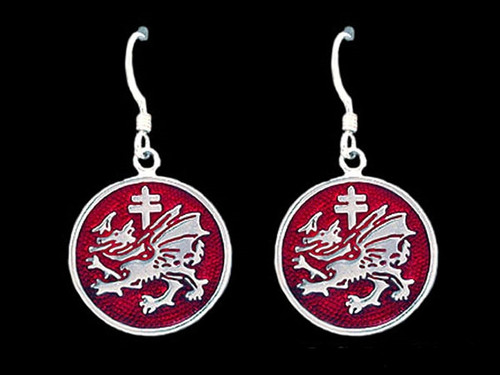 Order of the Dragon Enamel Earrings in Sterling Silver