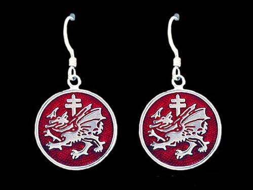 Order of the Dragon Enamel Earrings in Sterling Silver