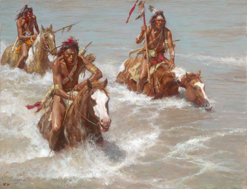 Howard Terpning Pursuit Across the Yellowstone Giclée on Canvas