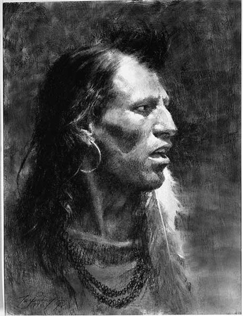 Howard Terpning Crow Giclée on Canvas Portrait Series