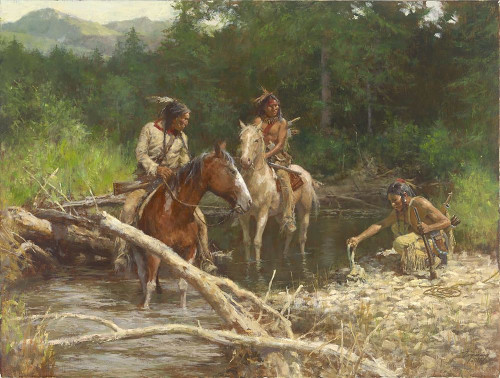 Howard Terpning Blackfeet Scouts in the Flathead Giclee on Canvas