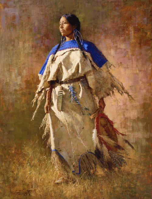 Howard Terpning Shield do her Husband Giclée on Canvas with Matching 5 by 7 Print