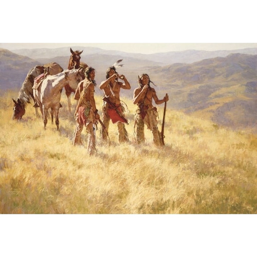 Howard Terpning  Dust of Many Pony Soldiers Giclée on Canvas with Matching 5 by 7 Print