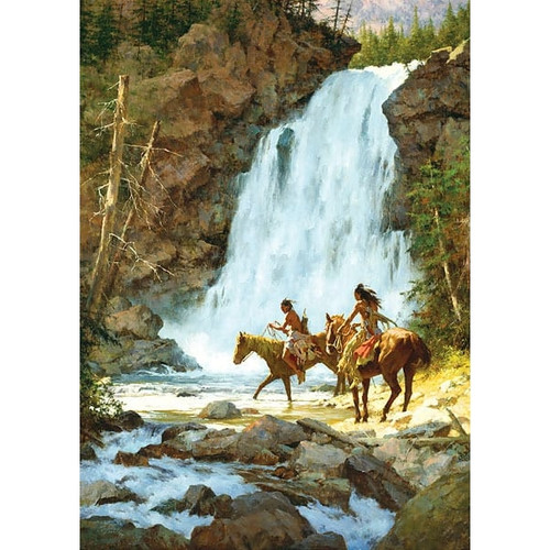 Howard Terpning Crossing Below the Falls Giclée on Canvas