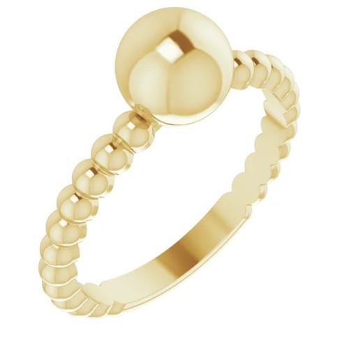 Metal Ball Ring in 14k Gold or Platinum
