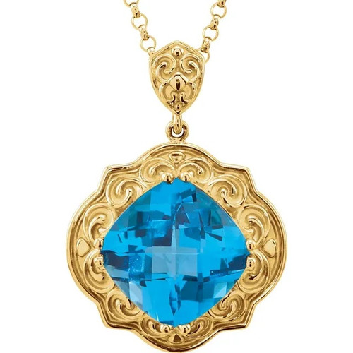 Swiss Blue Topaz Sculpted Circle Necklace in 14k Yellow Gold