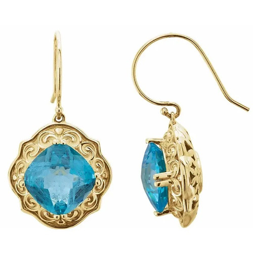 Swiss Blue Topaz Sculpted Circle Dangle Earrings in 14k Yellow Gold