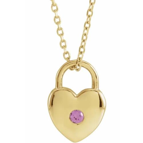 Gemstone Heart Lock Pendant in 14k Gold