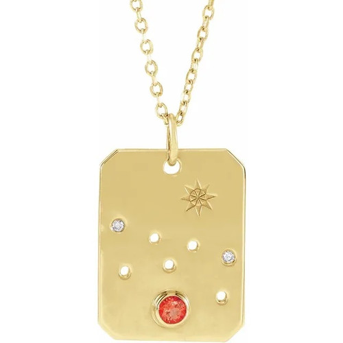 Zodiac Constellation Gemstone and Diamond Dog Tag Necklace in 14k Gold