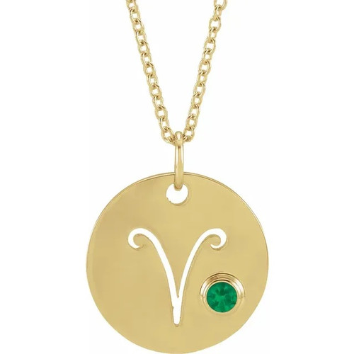 Zodiac Gemstone Disc Necklace in 14k Gold